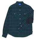 ELBOW PATCH FLANNEL SHIRT (GREEN)