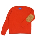ELBOW PATCH KNIT SWEATER (ORANGE)