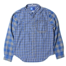 LIFE GHAM CHECK FLANNEL SHIRT (GRAYxBLUE)