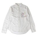 FLANNEL DOT LABEL PKT SHIRTS (WHITE)